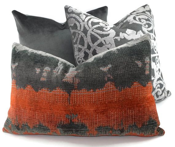 Charcoal Burnt Orange Light Gray Ikat Chenille Lumbar