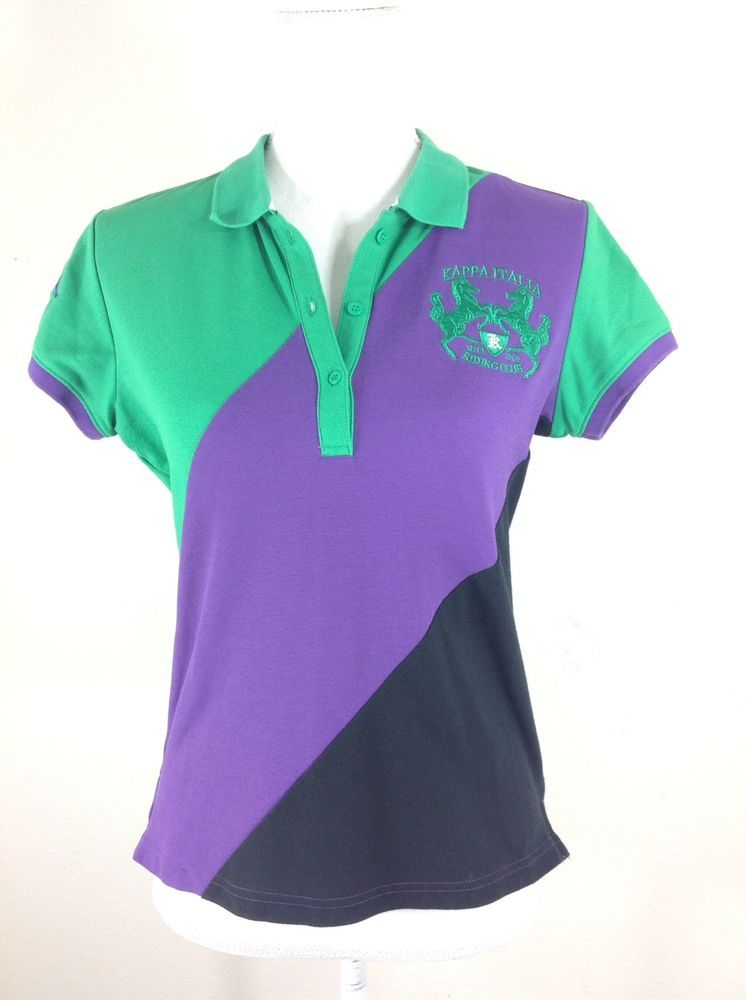 KAPPA Women Medium Italia Riding Polo Shirt Short Sleeve Green Purple  Cotton *