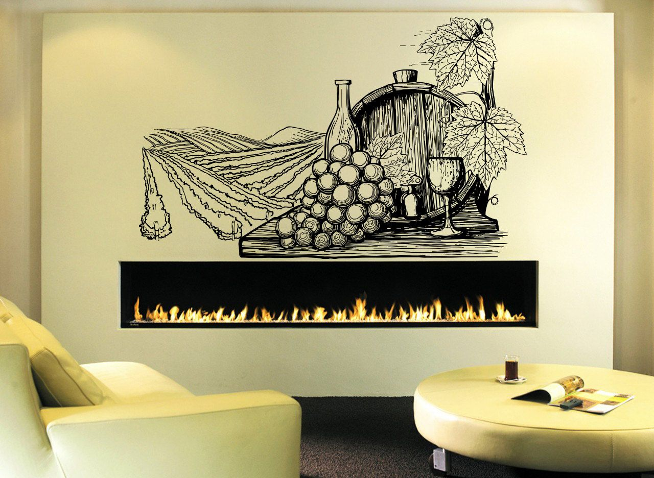 Wall Vinyl Sticker Decals Mural Room Design Decor Pattern Wine Vine ...