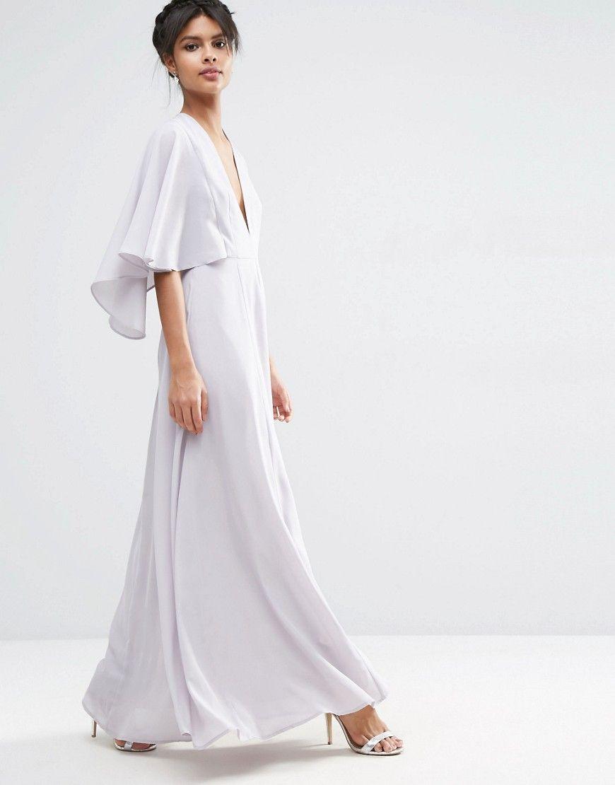 Image of asos deep plunge cape sleeve maxi dress favoritos