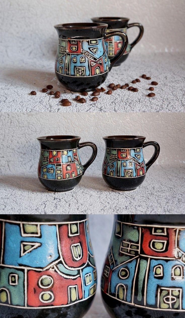 Ceramic tea mug Houses, New home gift, Tea cup clay, Coffee mug, Stoneware mug, Sister gift, Unique mug, Holiday gifts, Gift for architect #teamugs