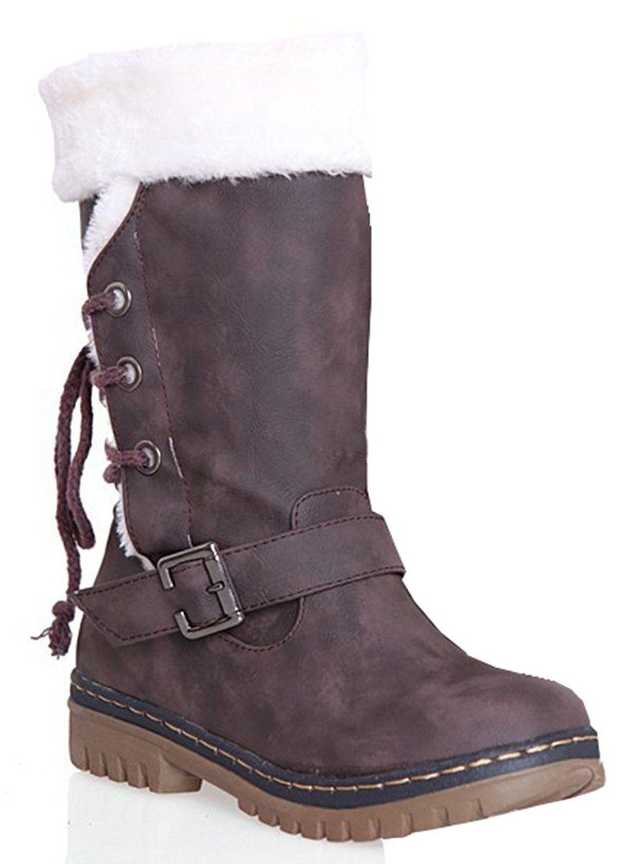 f89acfa7fdfa1 Fashion Women Winter Warm Lace Up Flat Heel Ankle Snow Boot Fleece Lined  Size 36-40