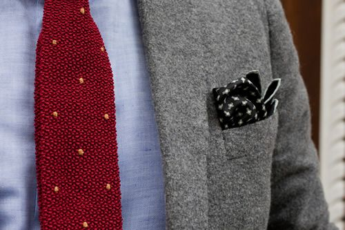 Drake's London For HODINKEE | Heritage Tie and Snowflake Pocket Square knit tie