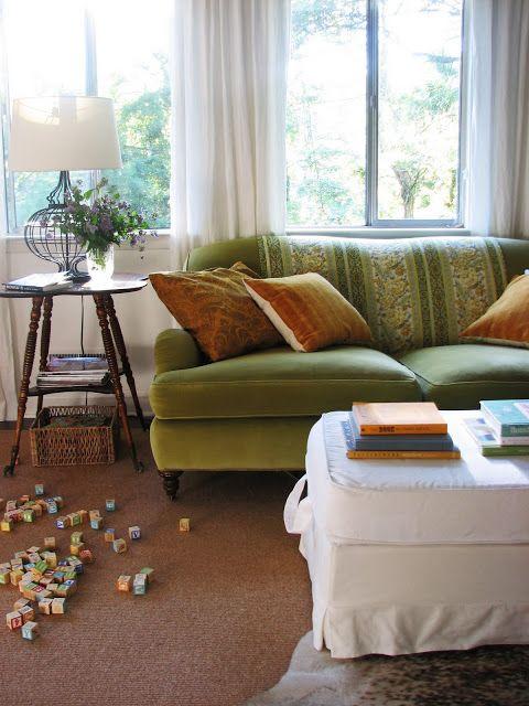 My Fave: Olive Green Velvet Sofa