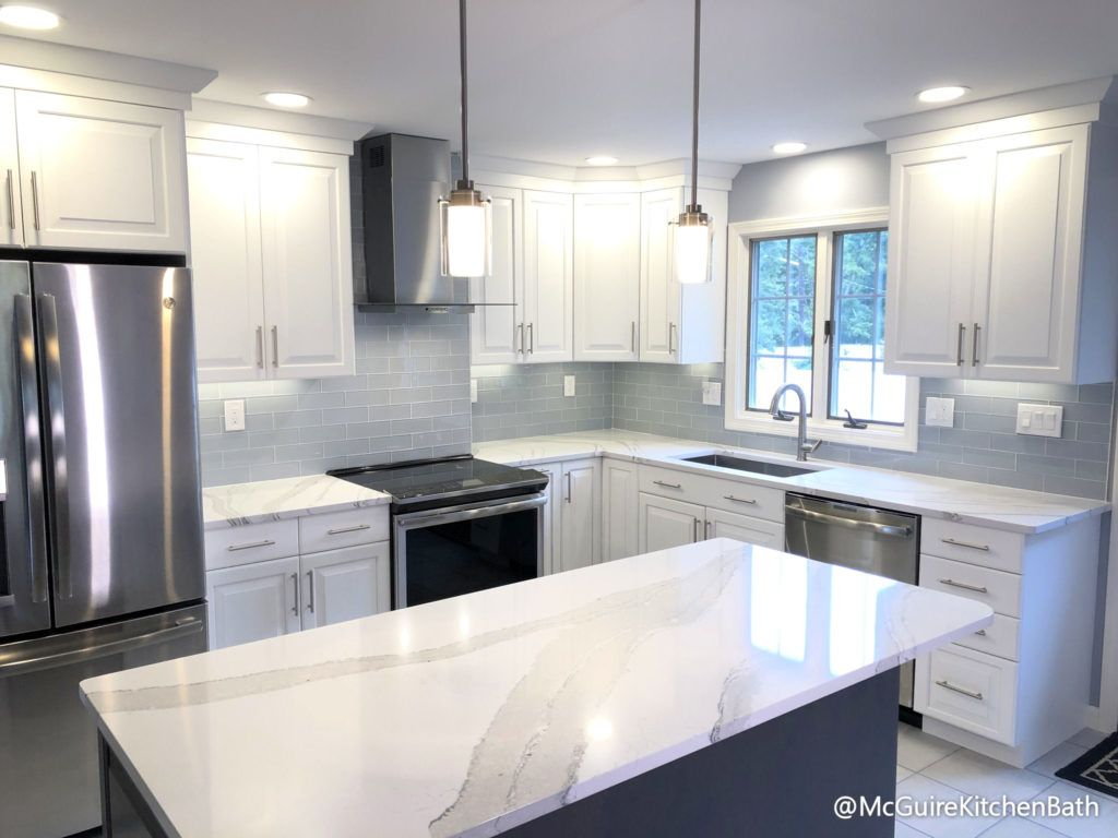 White And Grey Kitchen Remodel In Peabody Kitchen Cabinets Grey