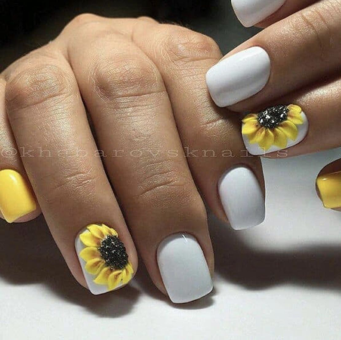 I Saw These Beautiful White Acrylic Sunflower Nails On A Board I Follow Of Nail Designs These Are So Sunflower Nails Yellow Nails Yellow Nail Art