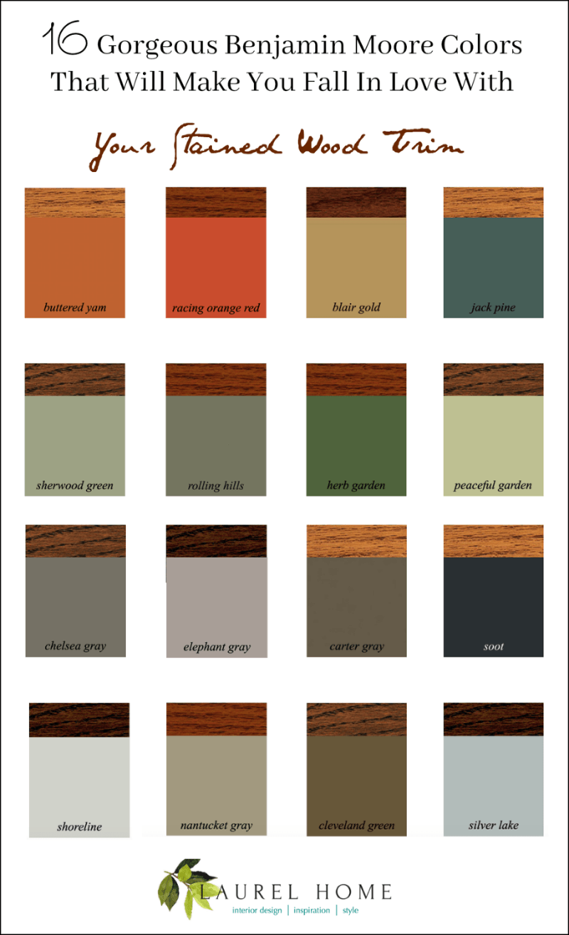 The Stained Wood Trim Stays – 16 Wall Colors To Make It Sing #stainedwood 16 Gorgeous Benjamin Moore Colors that will make you fall in love with your stained wood trim #stainedwood