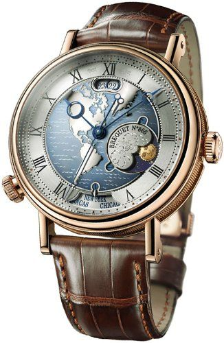 f8a84eef10e Breguet Classique Hora Mundi Men s Rose Gold Automatic Dual Time Zone Watch  5717BR US