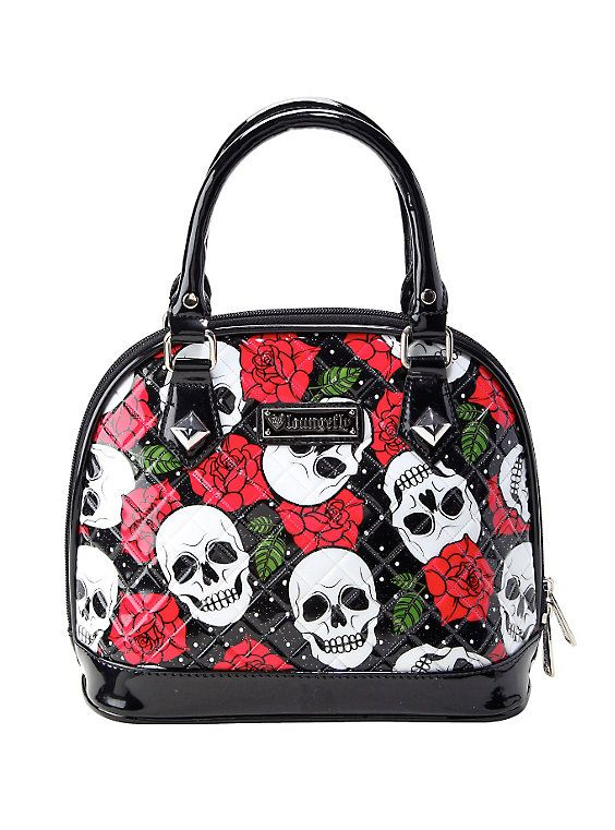 Loungefly Skull & Roses Patent Mini Bag