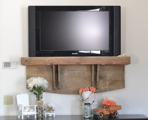 How S Your Tv Hanging Diy Tv Stand Tv Shelf Wall Mounted Tv