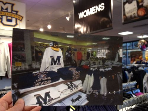 The Marquette Spirit Shop — aka the Burchill Warrior Shoppe — 20 years ago and today.