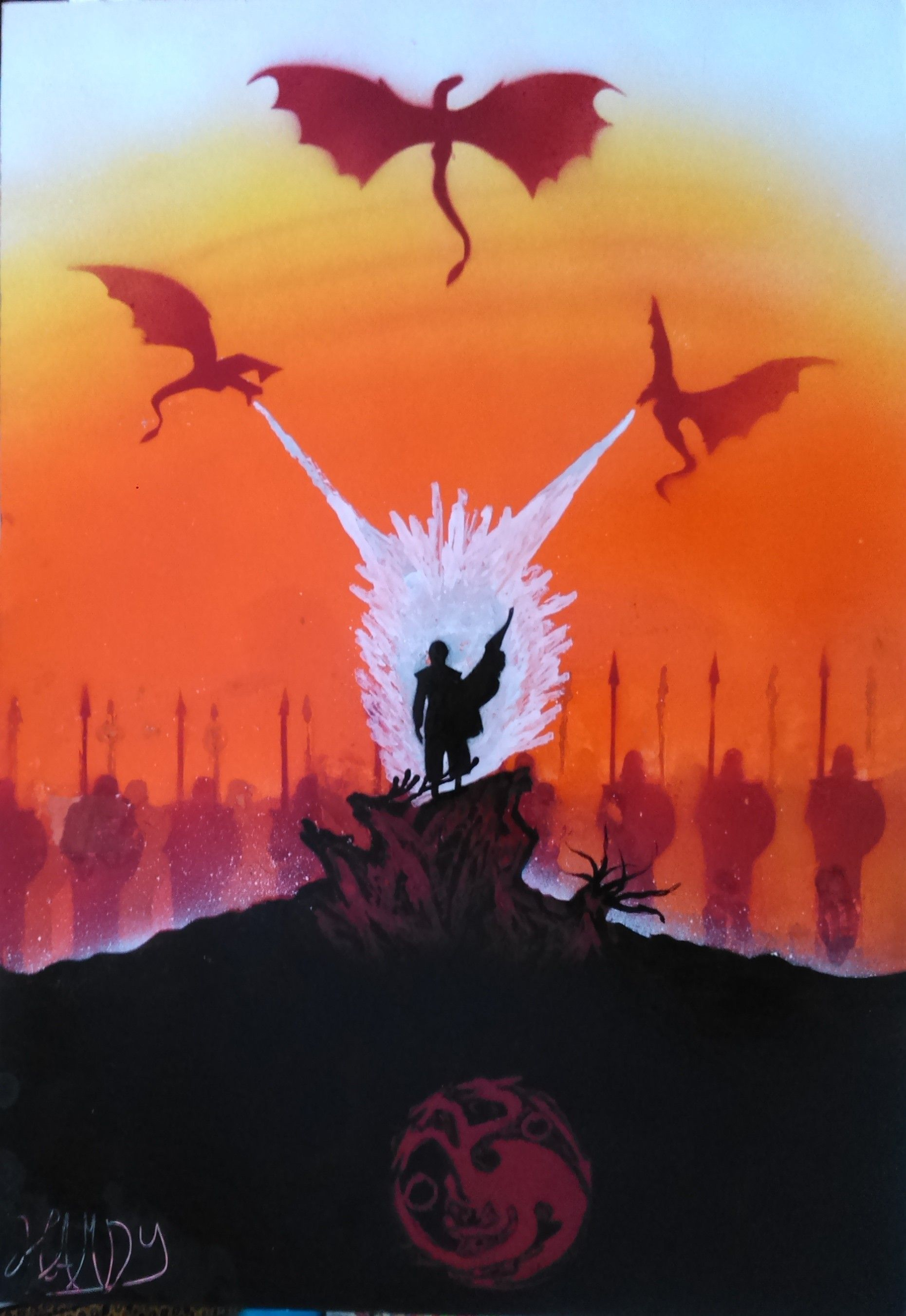 Pin on Fire and Blood Game of Thrones spray paint art