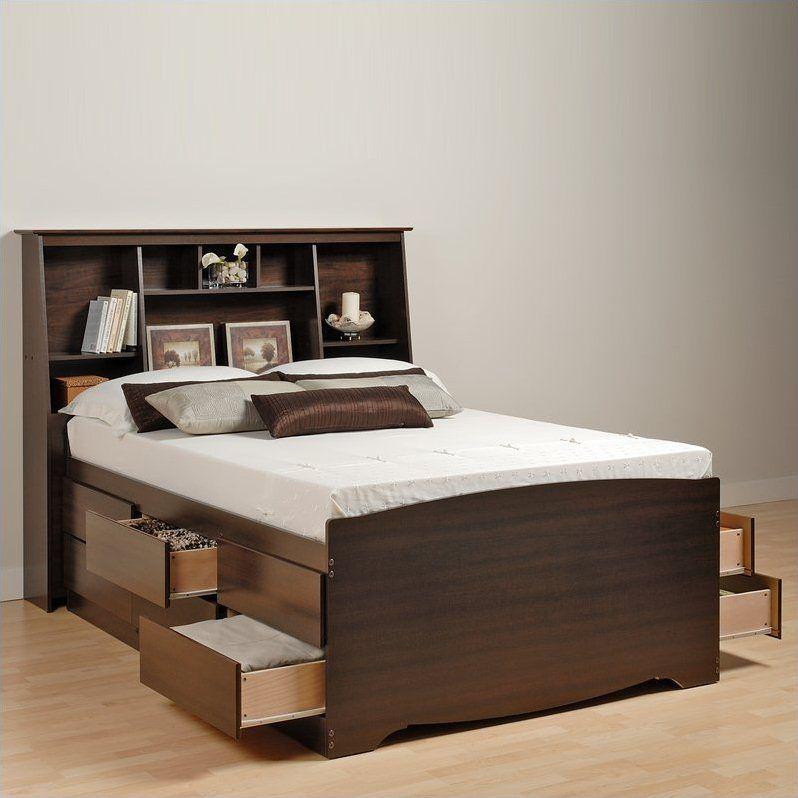 Prepac Manhattan Tall Queen Bookcase Platform Storage Bed In