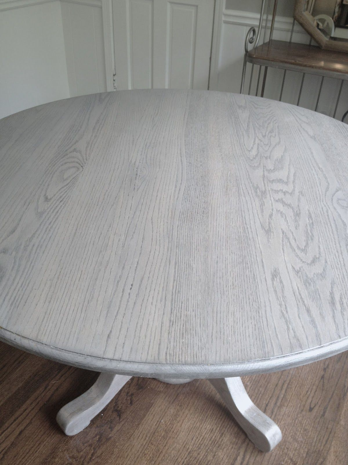 refinishing kitchen table Refinishing dining table gray Long and Found DIY Kitchen Table Refresh