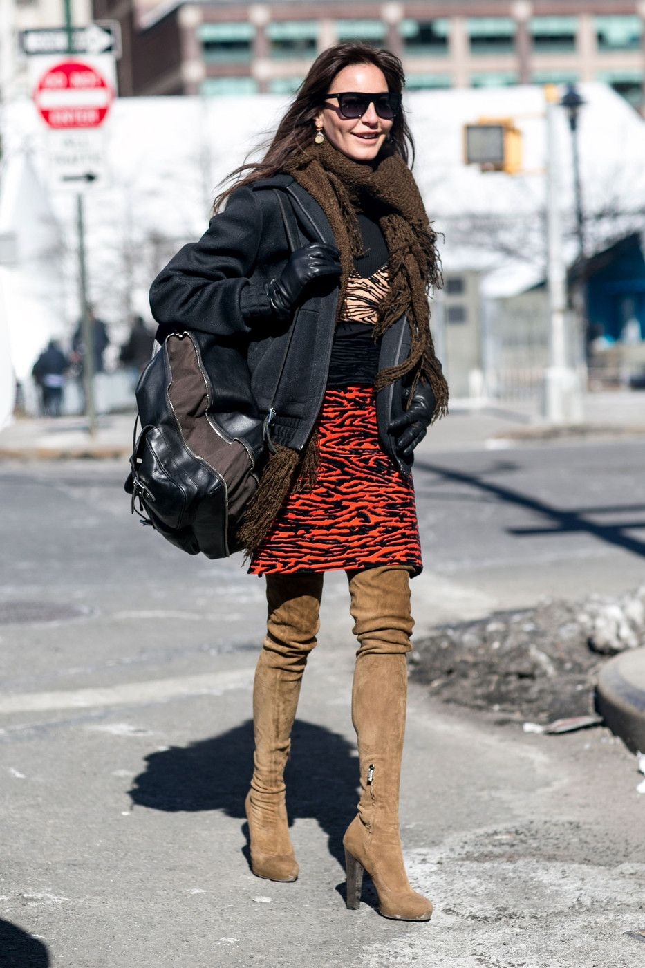 Looking brilliant in red zebra print and suede thigh highs. #NYFW