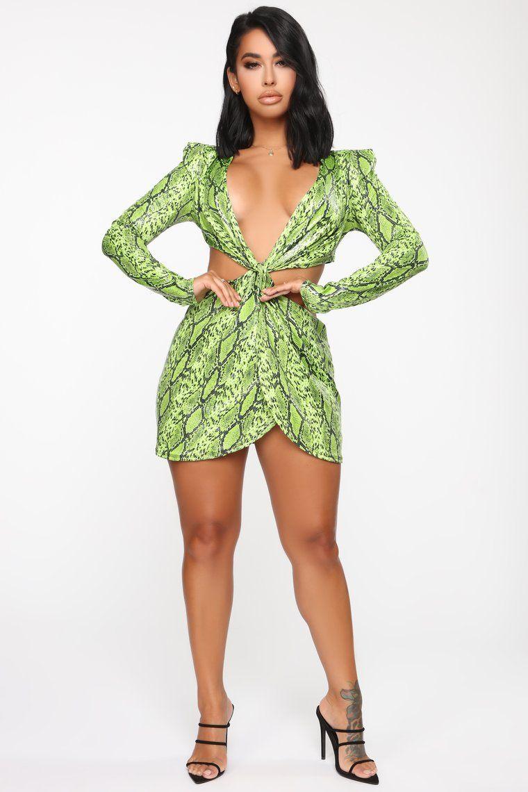 Deadly Gossip Snake Knot Mini Dress Neon Green in 2020