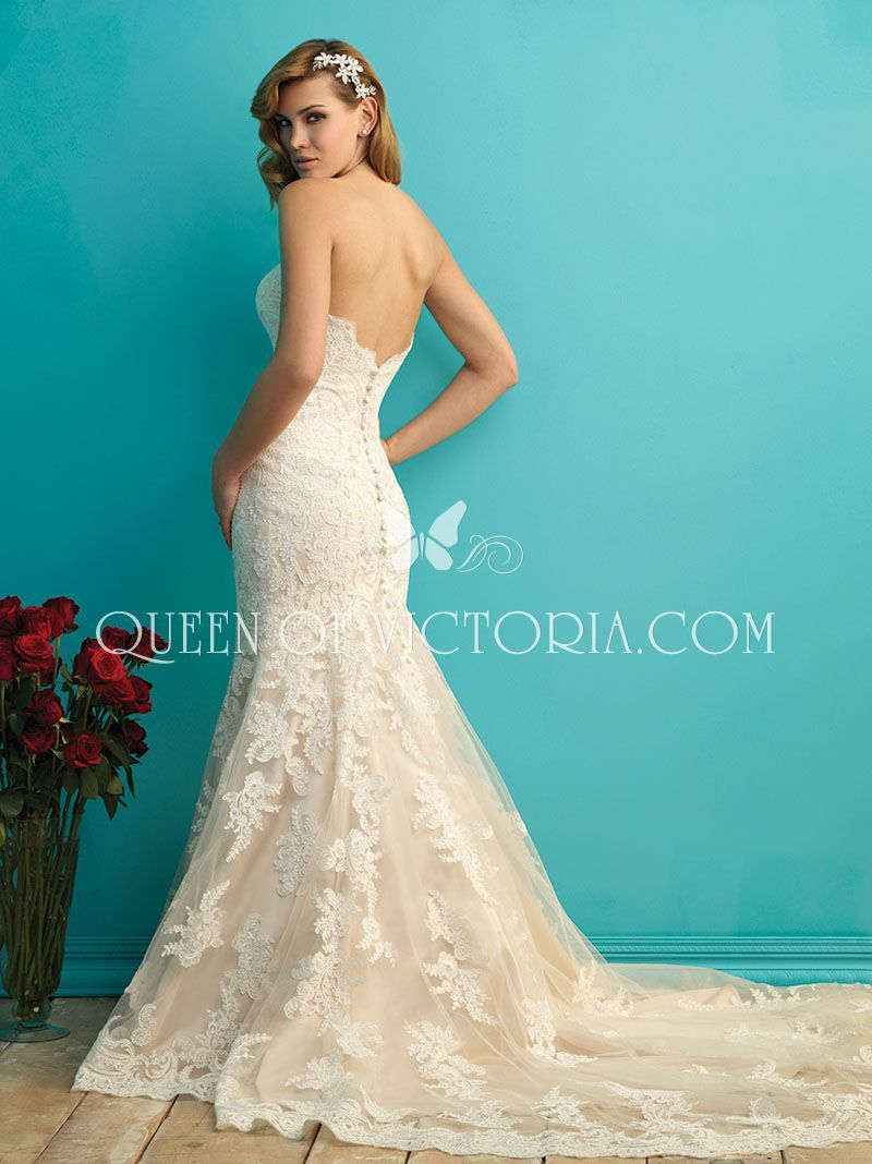 wedding dress with strapless sweetheart neckline mermaid lace | Love ...