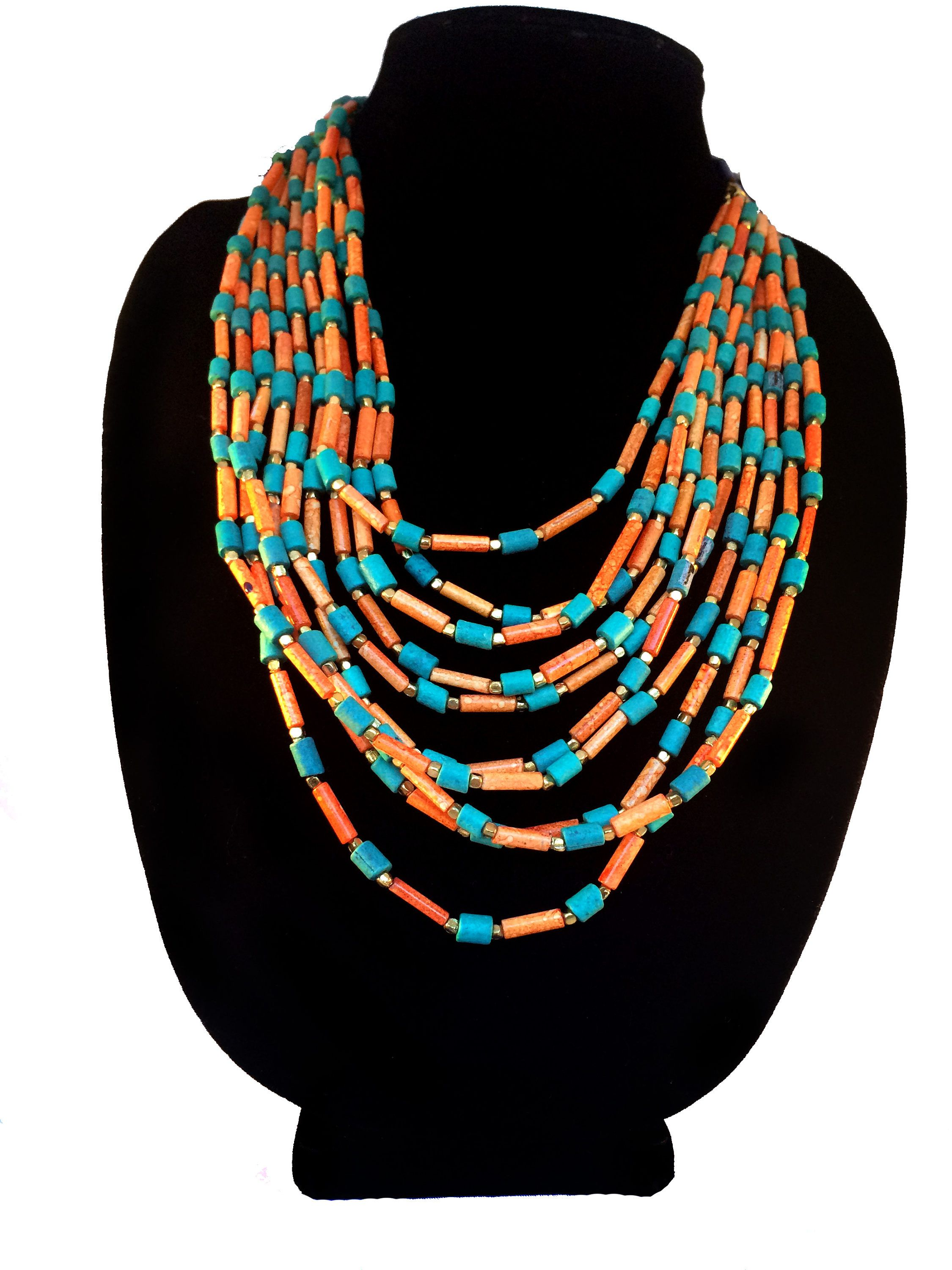 Turquoise Coral Layering Necklace,Nepal Necklace,Statement Jewelry,Tribal Jewelry,Tibet Necklace,Afghan Jewellery  by Taneesi by taneesijewelry on Etsy
