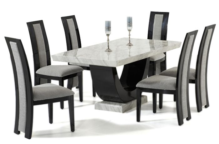 Raphael 170cm Cream And Black Pedestal Marble Dining Table With 4