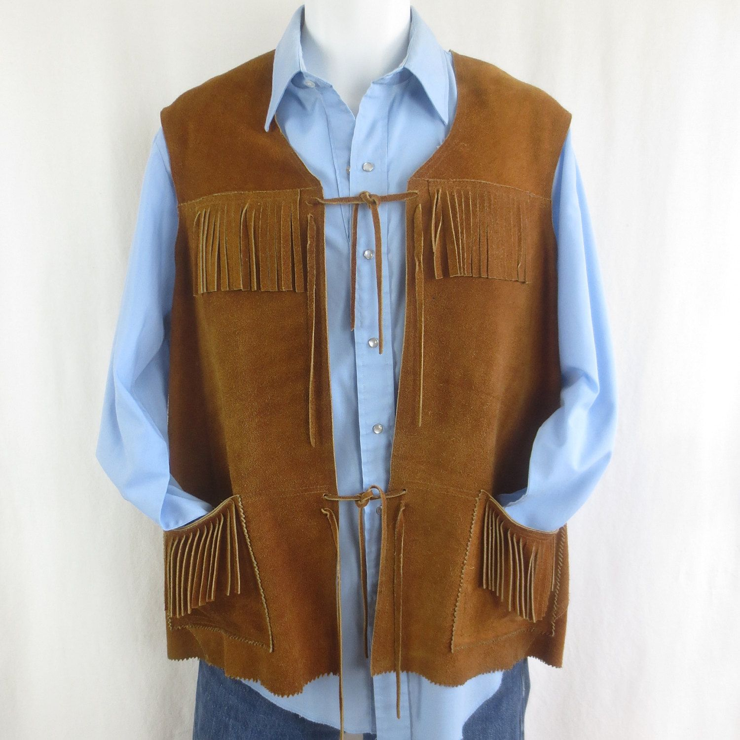 Vintage !970u0027s Russet Suede Fringed Leather Vest - Reenactment Costume Western Cowboy Sz L by delilahsdeluxe on Etsy & Vintage !970u0027s Russet Suede Fringed Leather Vest - Reenactment ...