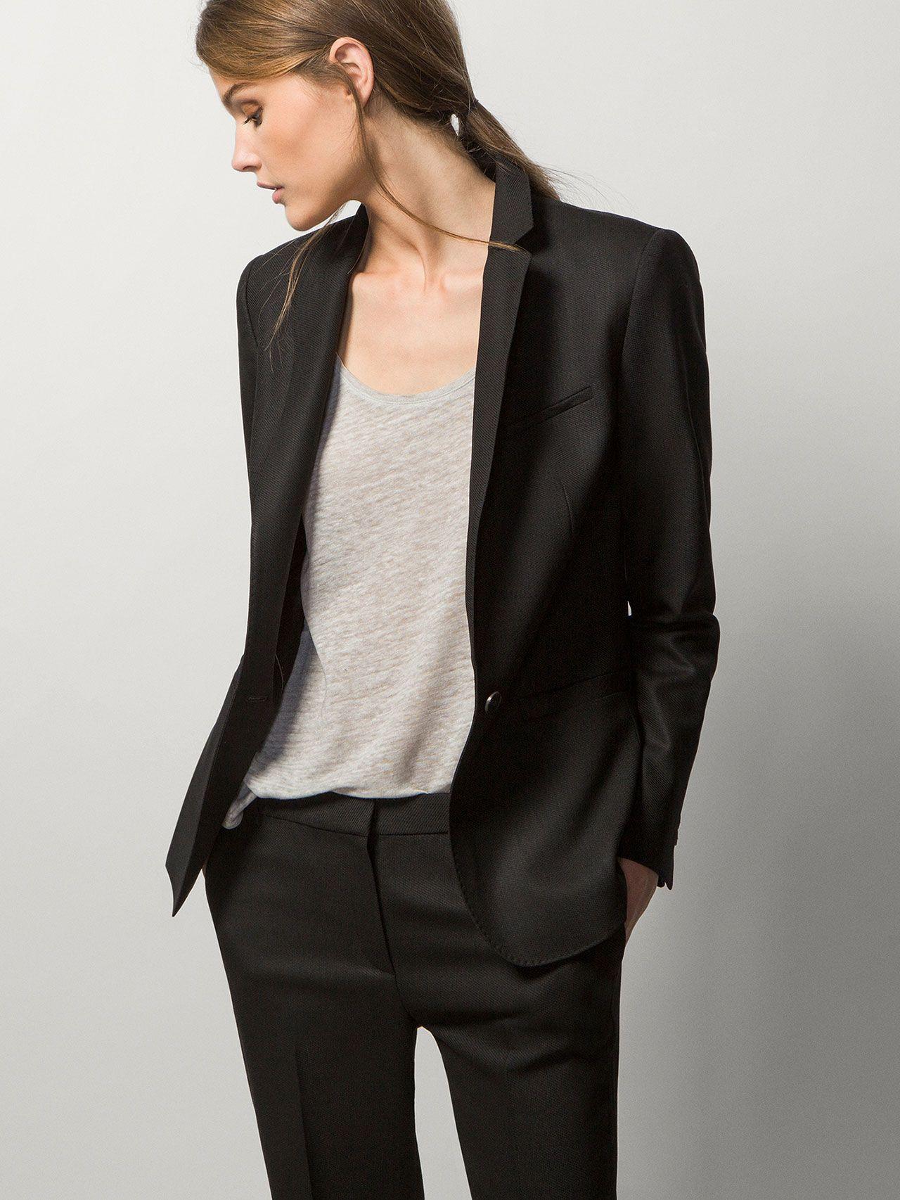 Black Suit Jacket Blazer Jackets For Women Womens Suits Business Black Suit Jacket [ 1706 x 1280 Pixel ]