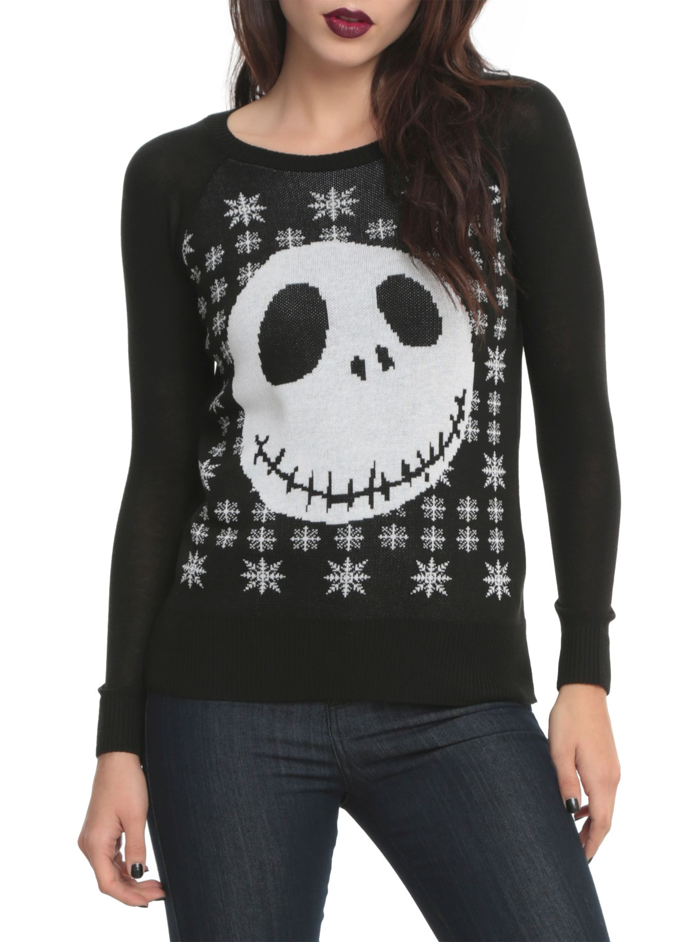 Tim Burton Christmas Jumper.The Nightmare Before Christmas Jack Girls Knit Pullover Top