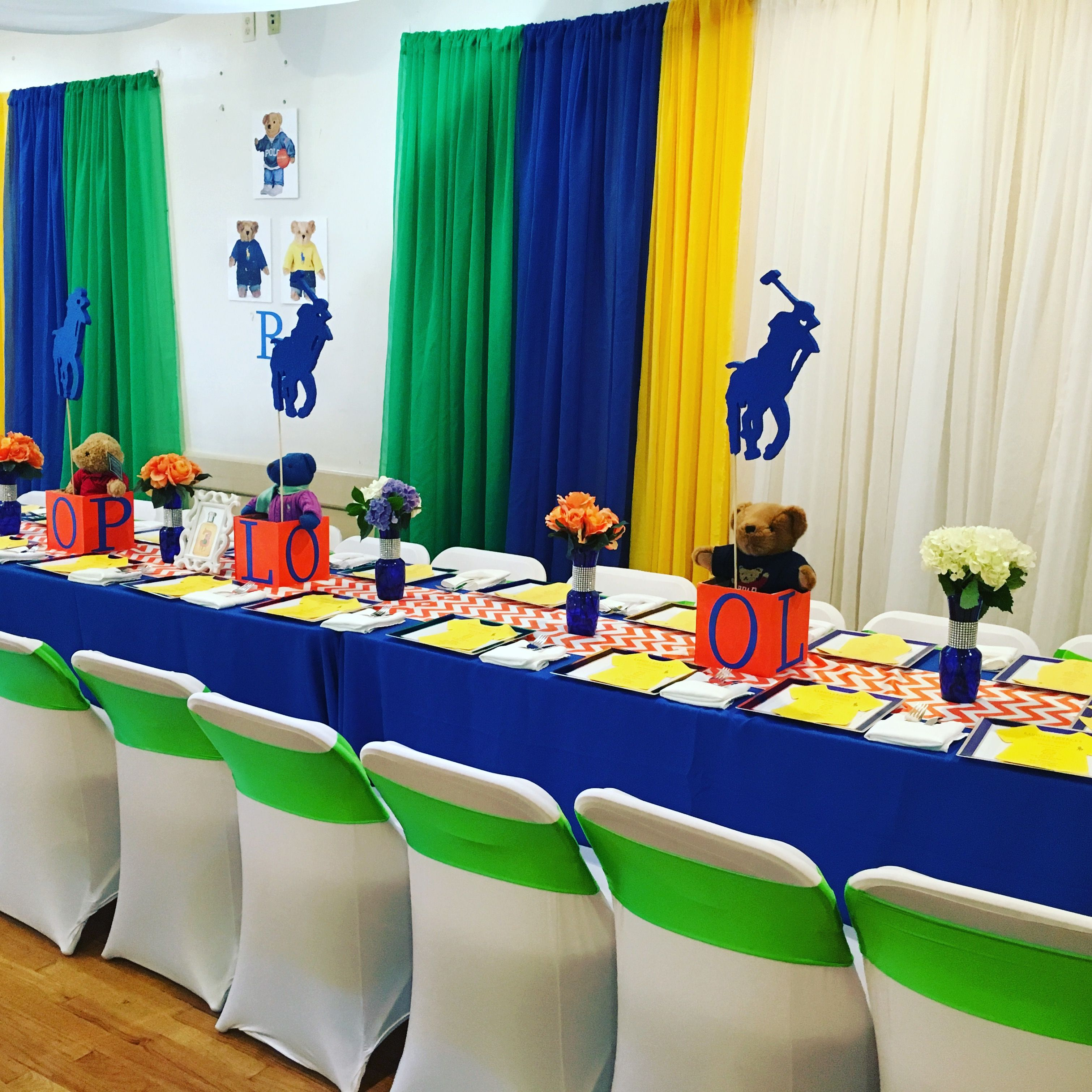 Polo Theme Baby Shower Brunch Draping Table Scape And Flower