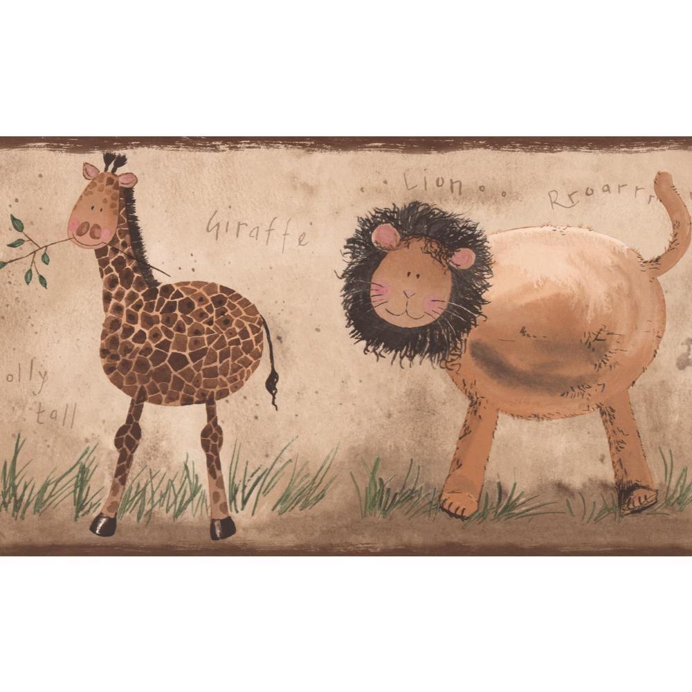 York Wallcoverings Lion Giraffe Elephant Zebra Beige Brown