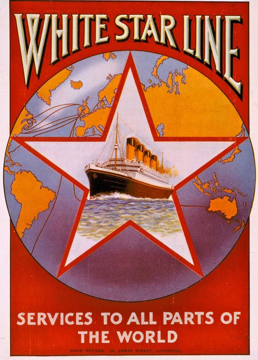 Poster art by Montague B. Black, published in 1926. Poster published by the Liverpool Printing & Stationary Co. Ltd., James Street, Liverpool. Image courtesy of White Star Line Archive.