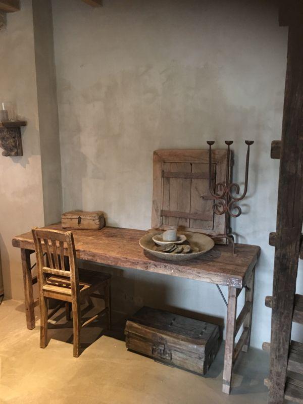 Stoere oude houten sidetable buro bureau klaptafel