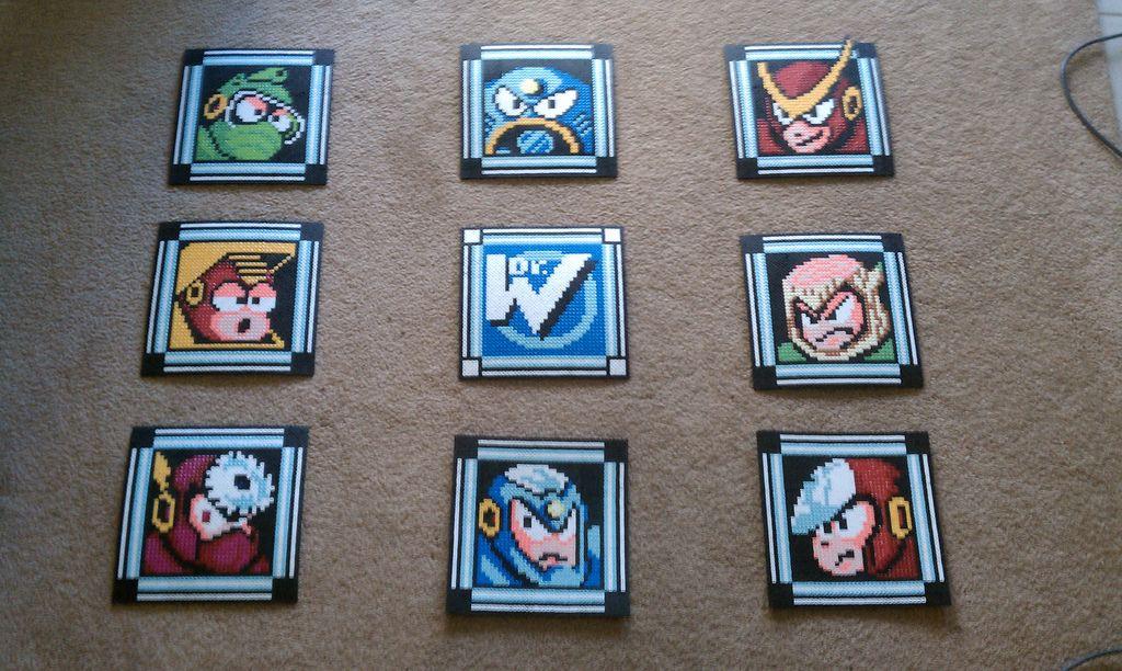 Mega Man 2 Boss Select Screen Perler Panels | Megaman | Mega