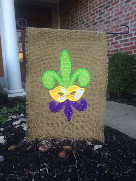 Custom Burlap Mardi Gras Fleur De Lis Garden Flag With Chevron and ...