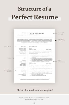 Simple and Clean Resume Template, Professional Business CV Template, Instant Download Resume for Word and Pages, Free Resume Writing Guide