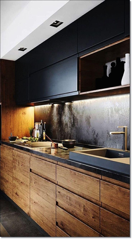 35 kleine Küche Designs für Küche umgestalten. Moderner Küchendekor mit schwarzen hölzernen Kabinetten. Kleine Küchenideen SCHWARZ Schränke Dekor ...   - Küche #newkitchencabinets