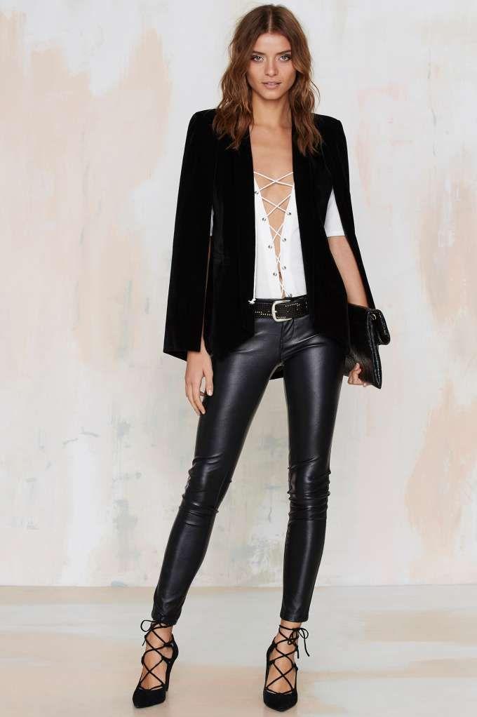 Nasty Gal Champagne Taste Cape Blazer - Black Velvet - Clothes ... fdf20a4106b