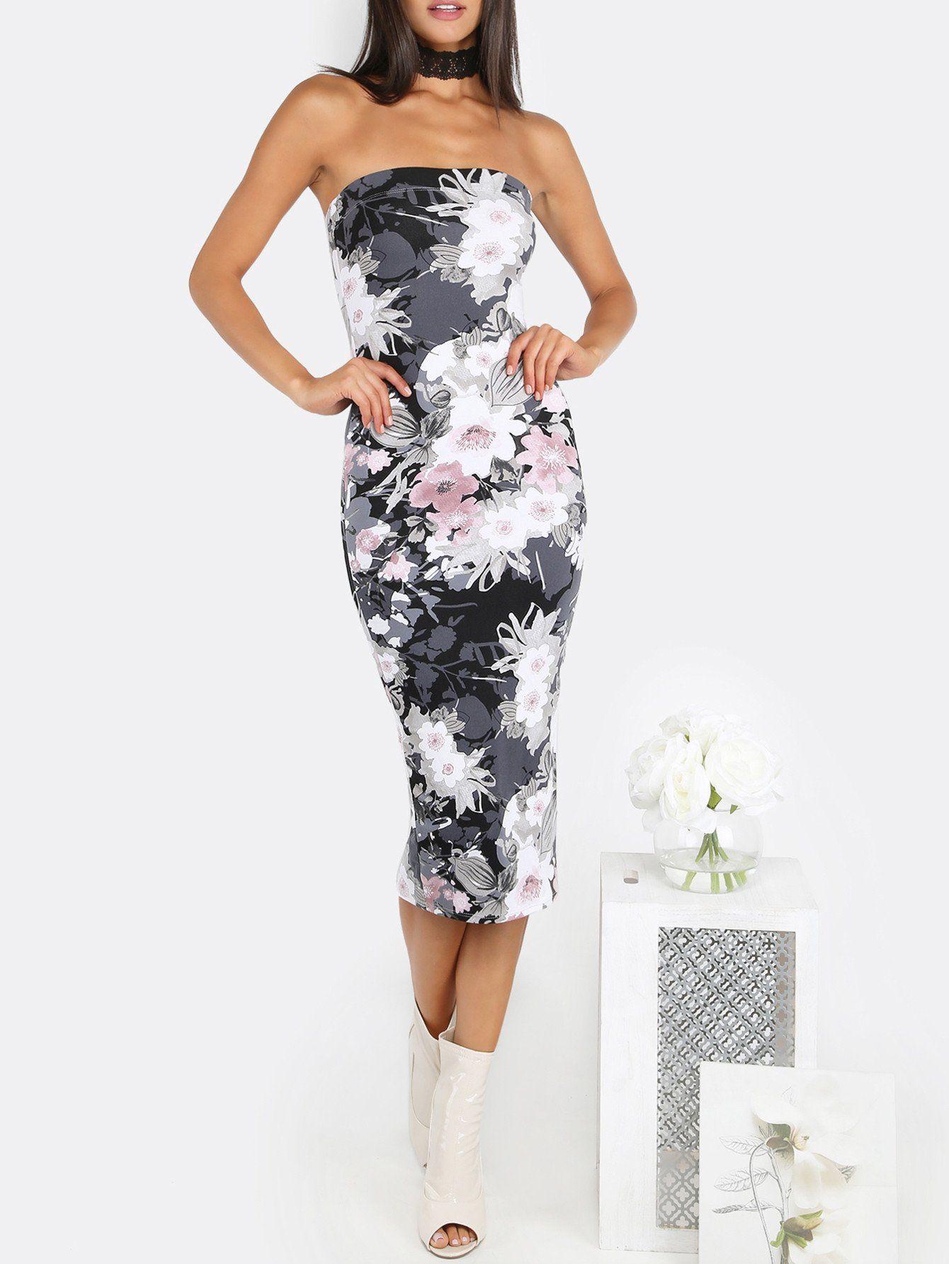 0d17c2fb682 Floral Tube Top Midi Dress BLACK
