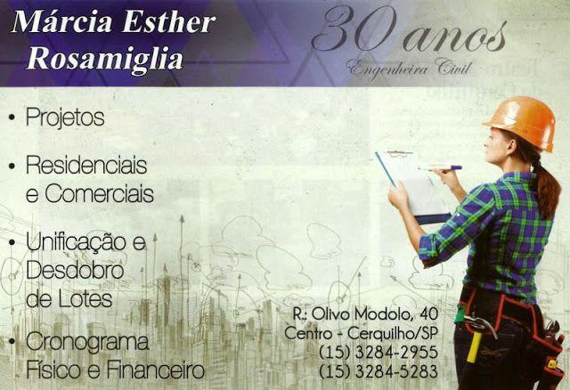 JORNAL AÇÃO POLICIAL CERQUILHO E REGIÃO ONLINE: Engenheira Civil Márcia Esther Rosamiglia Rua. Olivio Modolo, 40 Centro - Cerquilho - SP tel: (15) 3284-2955 / 3284-5283