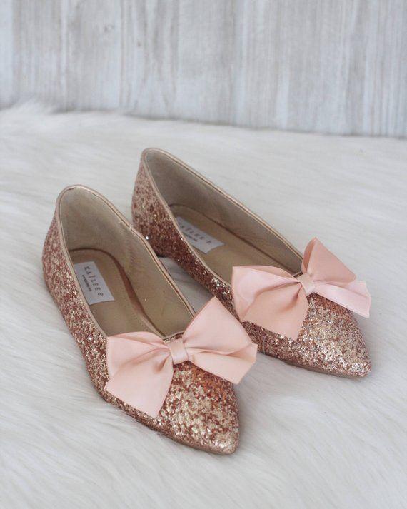 a5cf37736802 Women Wedding Shoes Bridesmaid Shoes ROSE GOLD Rock Glitter