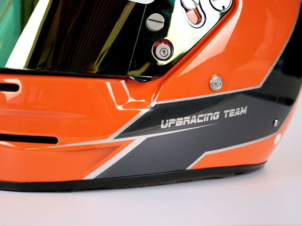 Face this #orange #helmade design by #UPBracing from the #UniPaderborn, who are competing in the #FormulaStudent Great job guys. #B2 #helmetdesign #motorsports #silverstone #upb #racingteam #university Design your own on www.helmade.com
