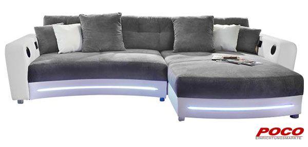 Polsterecke Laredo weiß grau - wohnzimmer couch weis grau