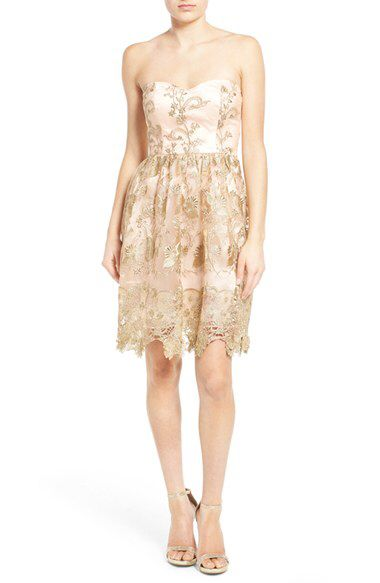 a. drea a. drea Embroidered Lace Strapless Dress available at #Nordstrom