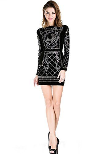 fe298d6347d2 Missord Women's Long Sleeve Halter Studded Casual Mini Dress with Zipper  Black $28.22