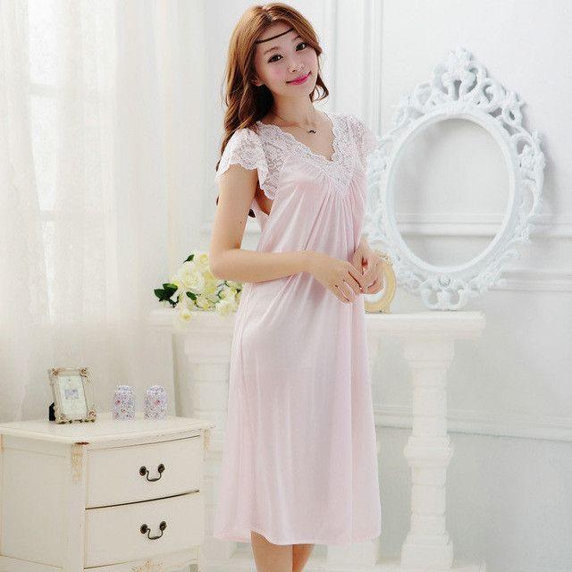 Summer Sexy Female Lounge Sleepwear Long Design Loose Female Ice Silk Lace Princess Palace White Nightgown