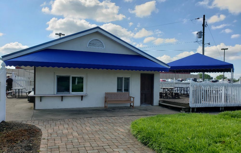Leisure Lanes Storefront Awning And Dining Canopy Recanvas Kreider S Canvas Service Inc Awning Canopy Store Fronts