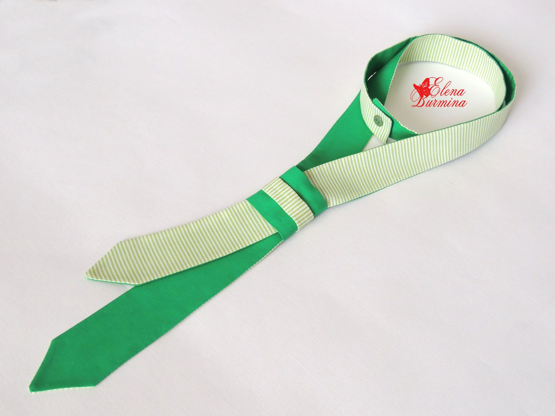 Купить Женский двухсторонний галстук цвета зелень, хлопок - зеленый, в полоску, однотонный, зелень