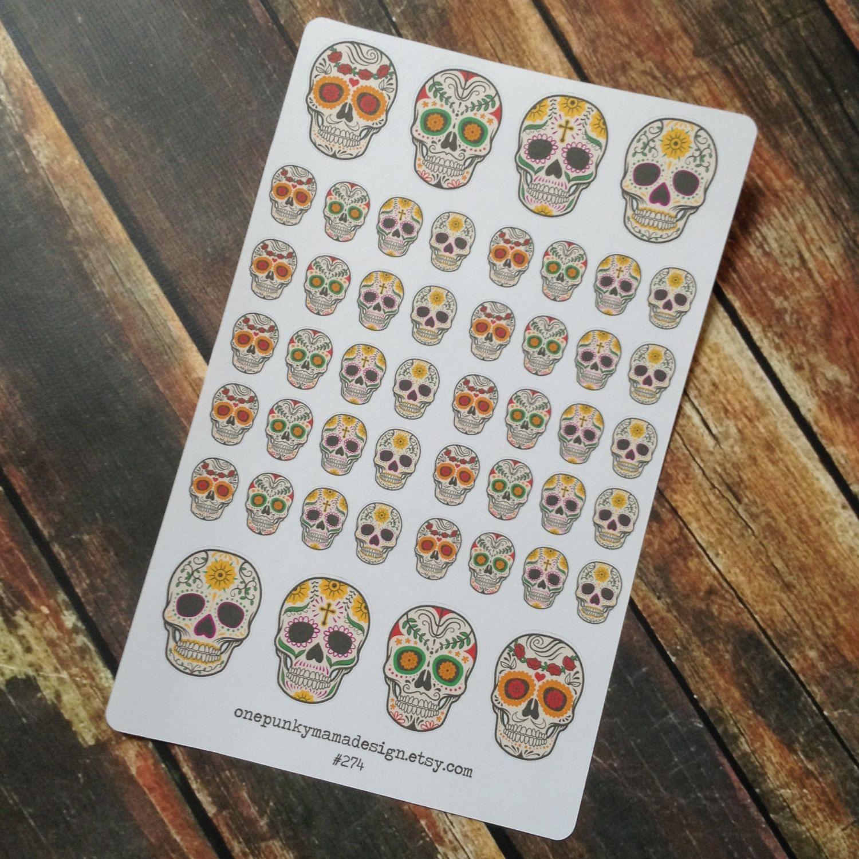 New to OnePunkyMamaDesign on Etsy: Sugar Skull Stickers for Erin Condren or Plum Paper Día de Muertos (ID274) (4.50 USD)