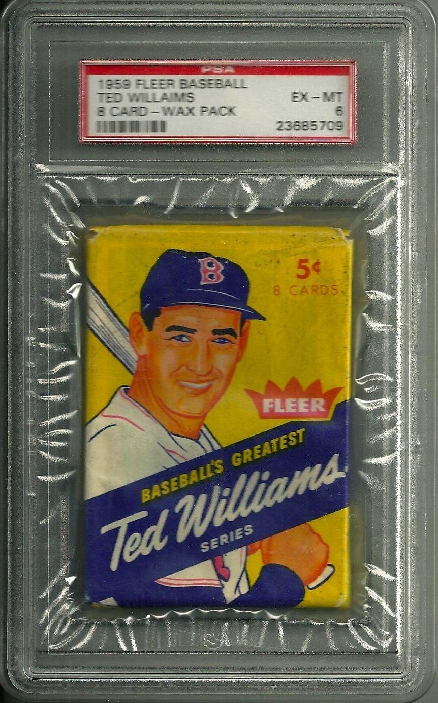 1959 fleer baseball ted williams series unopened 8 card