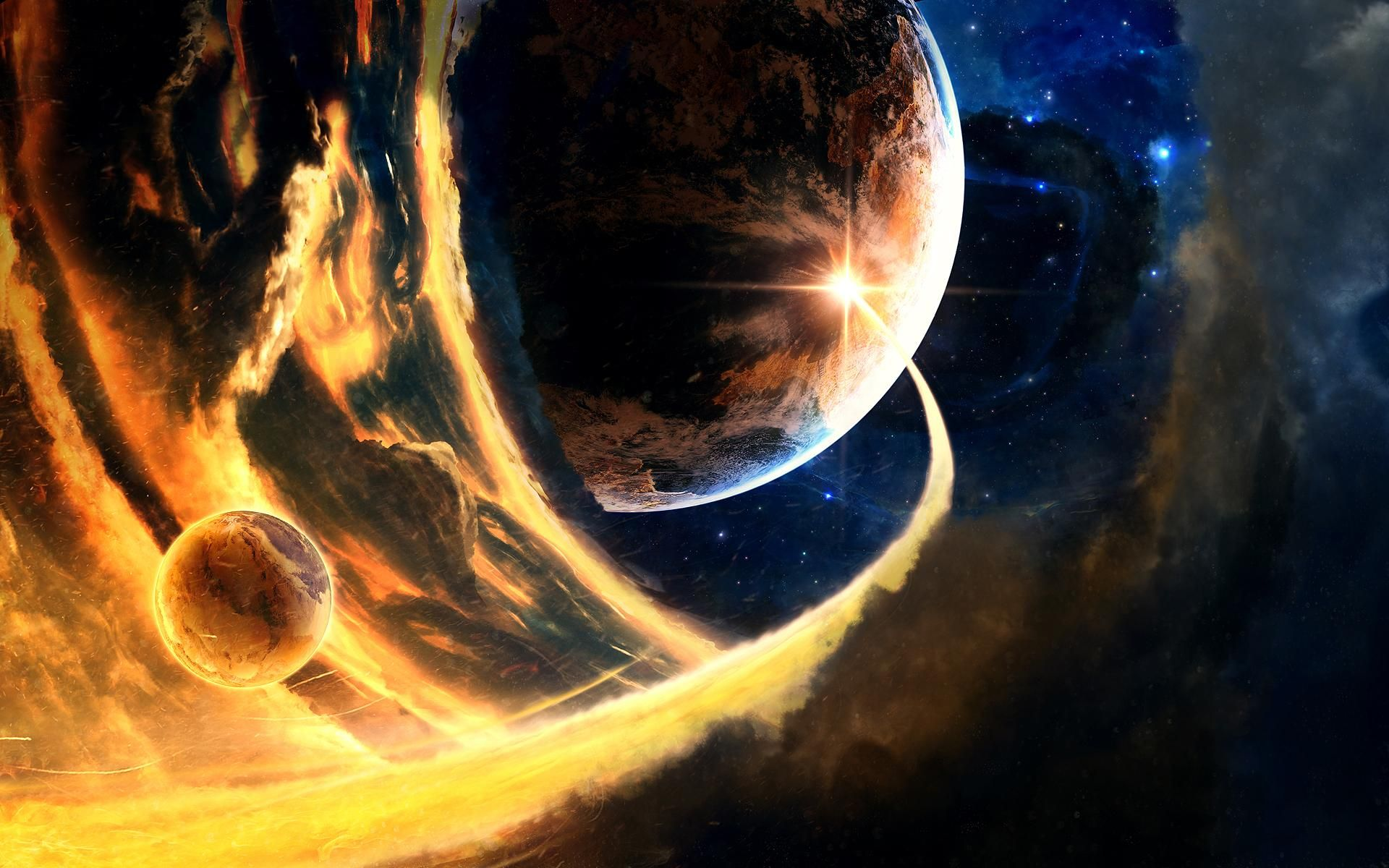 Planets Conflict Wide Jpg 1920 1200 Planets Wallpaper Planets Space Art