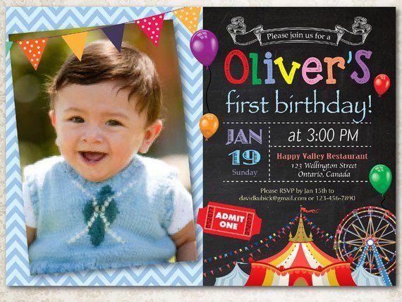 Circus Birthday Invitation Boy Carnival Birthday Party Invite