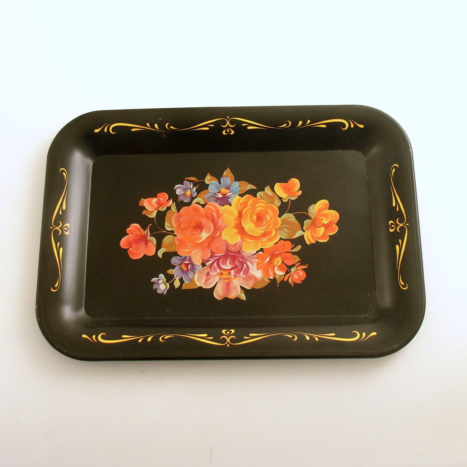 Vintage Metal Tole Tray Flowers by efinegifts on Etsy